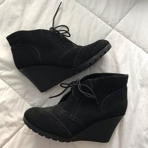 Wedge lace-up booties